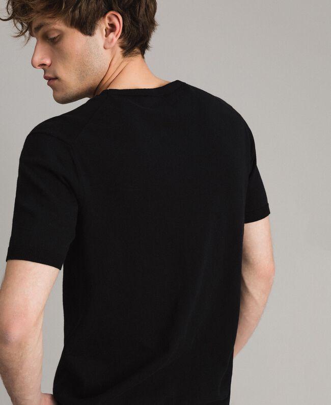 Krepp-Baumwoll-T-Shirt mit Logo Zweifarbig Schwarz / Deckweiß Mann 191UT3041-03