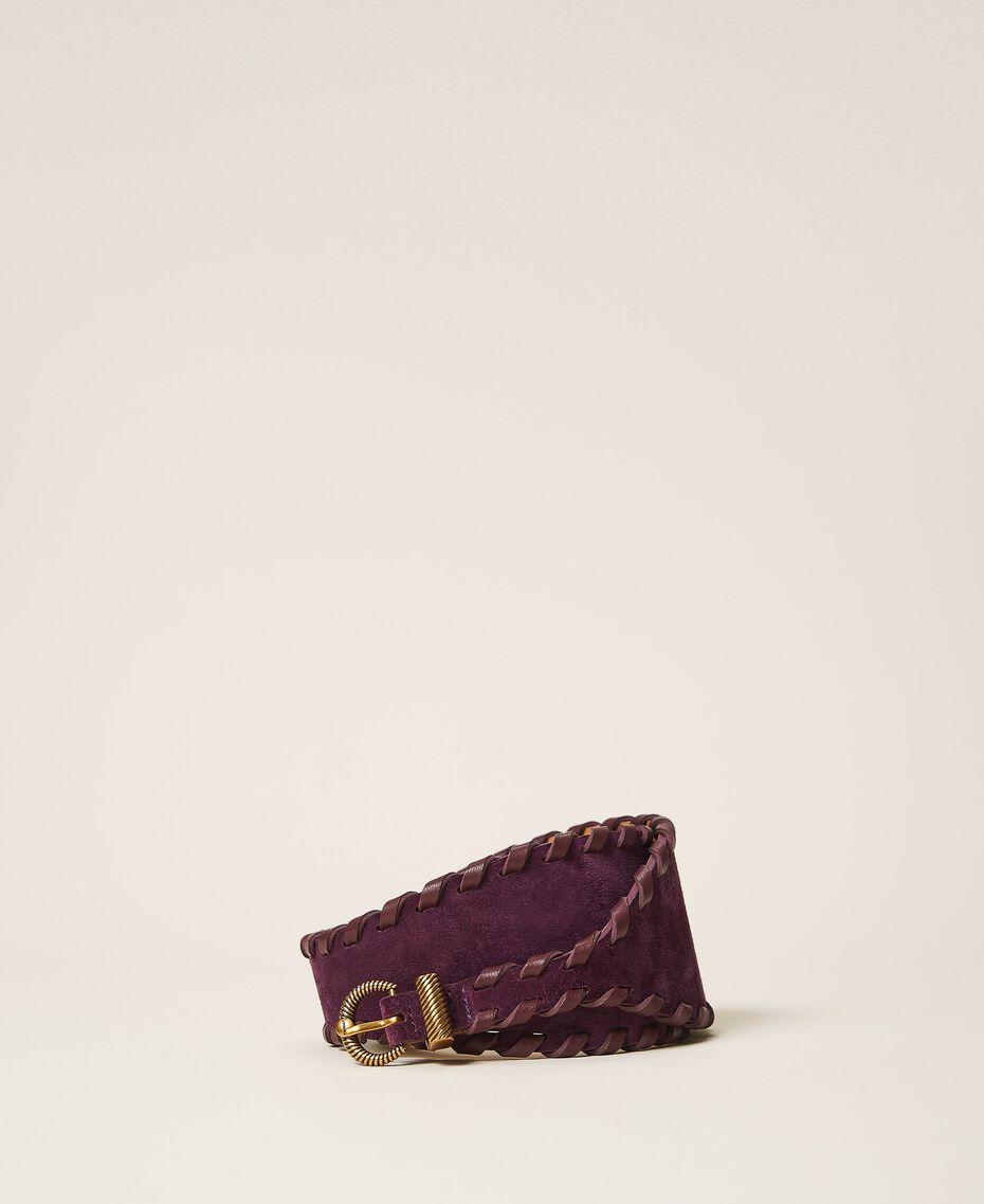 Gürtel aus Rauleder Dark Shiny Purple Frau 202TO5017-02