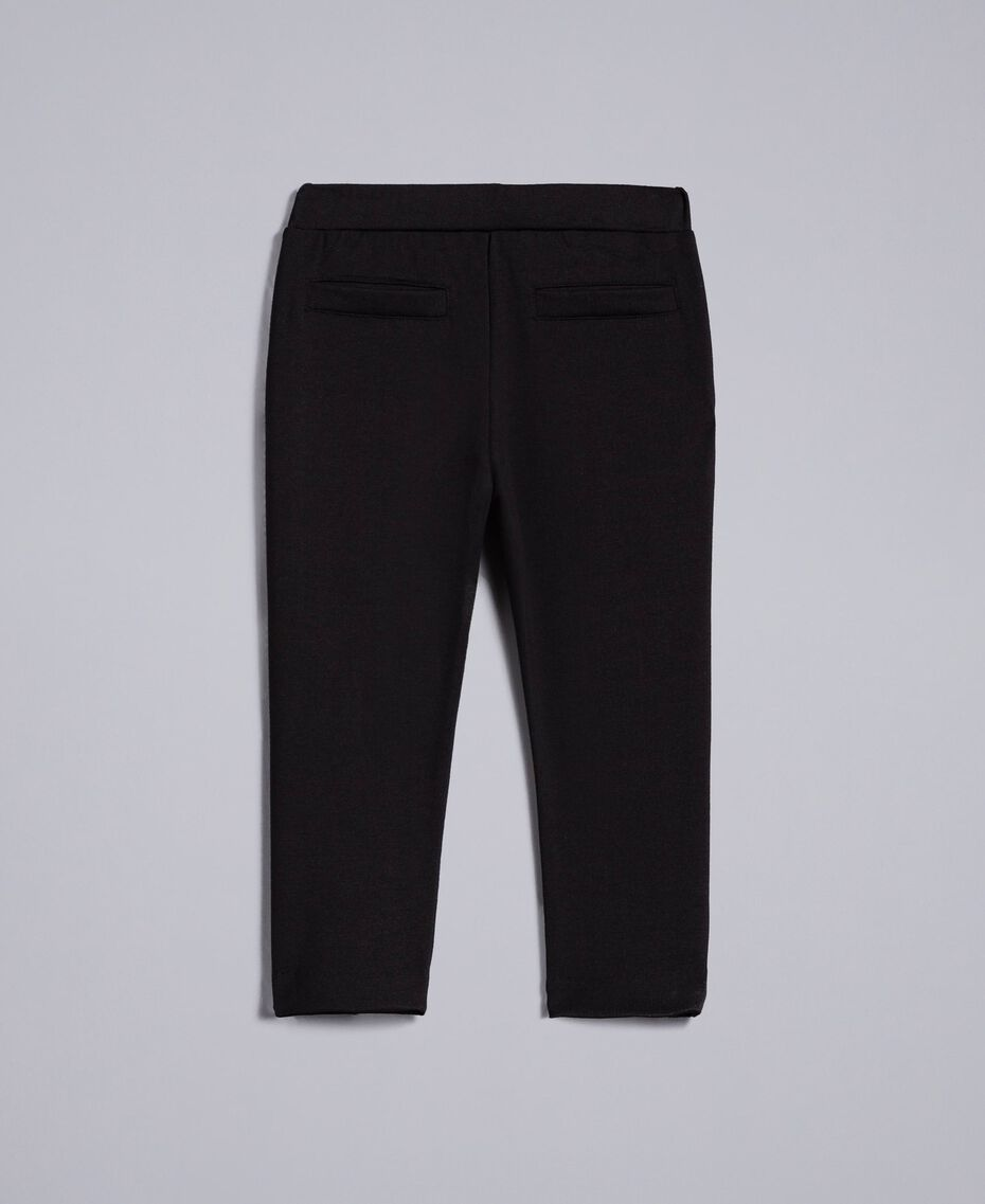 Pantalon en point de Milan Noir Enfant FA82F1-0S