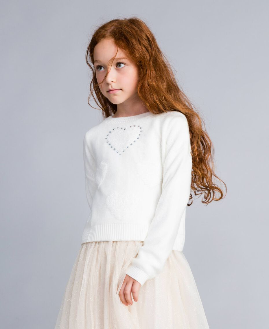 Jumper with terry stitch hearts Off White Child GA83DB-0S