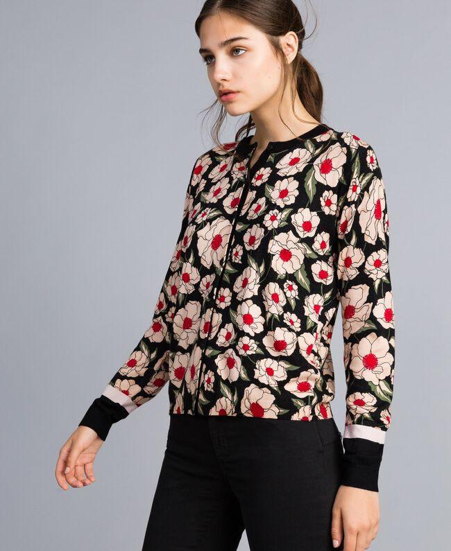 Printed viscose blend mandarin collar top Caramel / Black Windflower Print Woman YA83B1-03