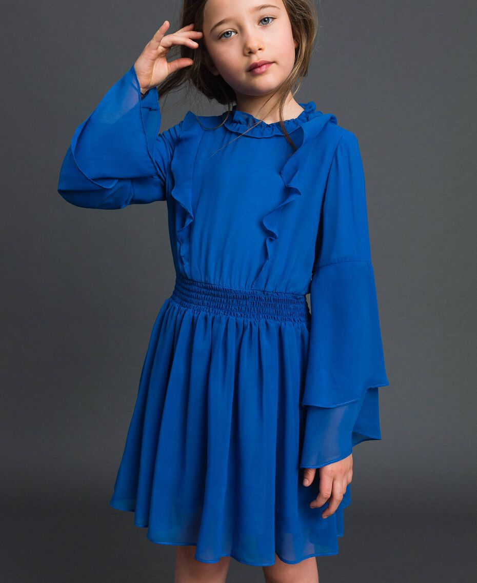 """Robe en crêpe georgette avec volant Bleu """"Méditerranée"""" Enfant 192GJ2350-01"""