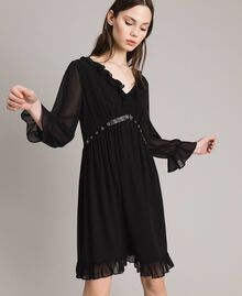 Georgette dress with frills Black Woman 191MP2391-02