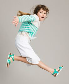 """Striped jumper and lace top """"Island Paradise"""" Light Blue / Off White Striping Child 191GJ3080-02"""