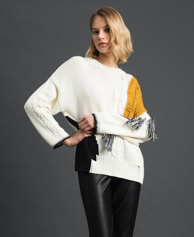 Cable knit and fringes jumper Vanilla / Saffron Yellow / Black Woman 192MP3041-03