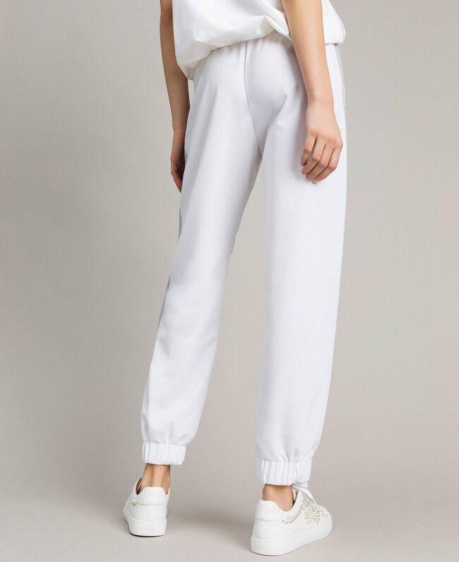Jogging trousers with lurex panels White Woman 191LL25KK-03