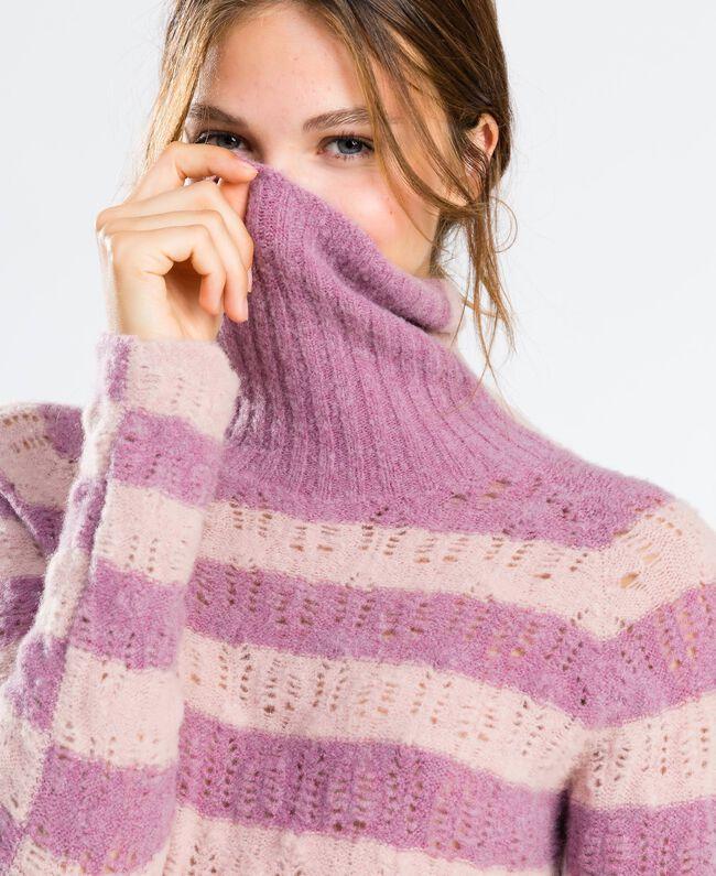 Pull en laine mélangée rayée Bicolore Rose Léger/ Rose Baroque Femme LA8PCC-04