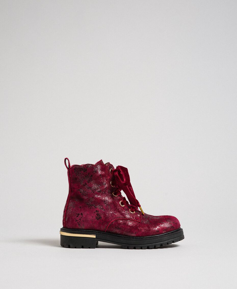 Laminated leather ankle boots Laminated Ruby Wine Print Child 192GCJ042-02