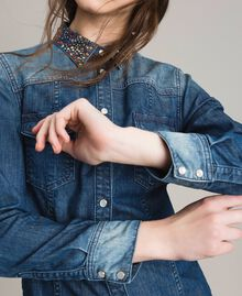 Chemise brodée en denim Bleu Denim Femme 191MP2411-04