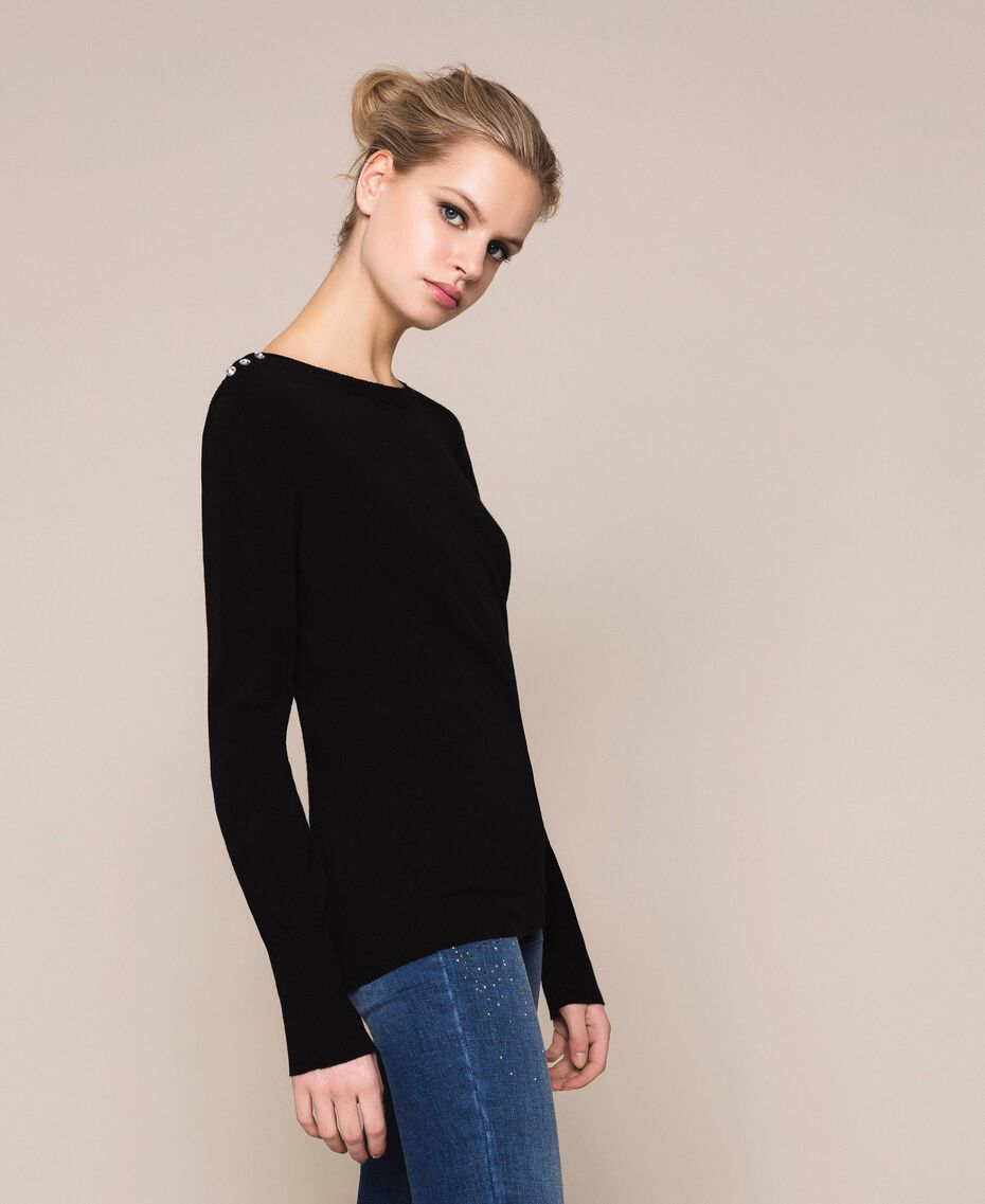 """Jumper with rhinestone buttons on the shoulders Black / """"Snow"""" White Stripes Woman 201TP3103-02"""