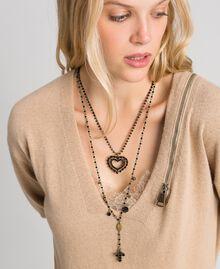 Collier chapelet avec mélange de chaînes et pendentifs Noir Femme 192TA436F-0S