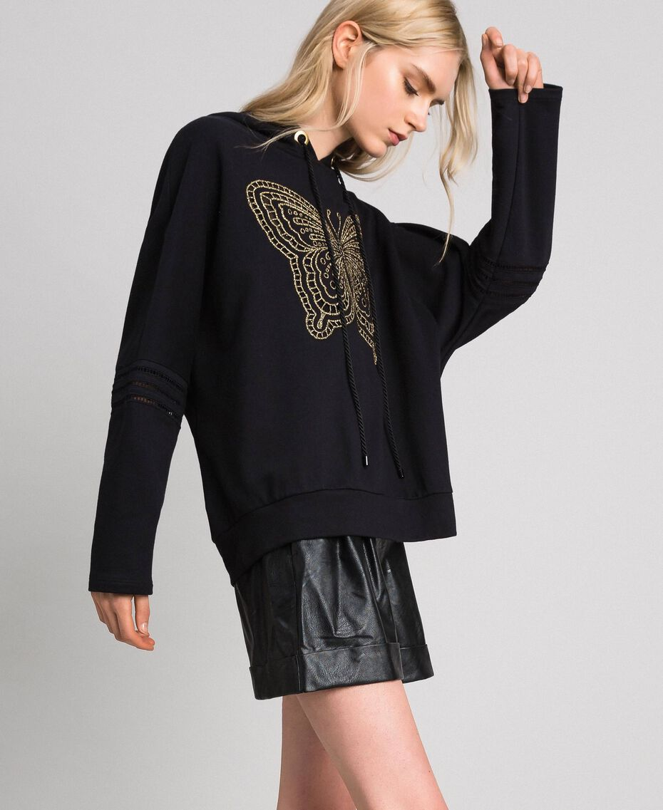 Butterfly embroidery sweatshirt Black Woman 192TT2133-02