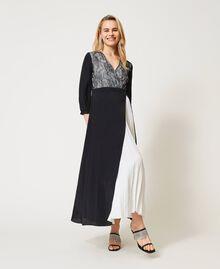 Robe longue avec dentelle de Chantilly et plissé Bicolore Noir / Blanc Optique Femme 211TQ210A-01
