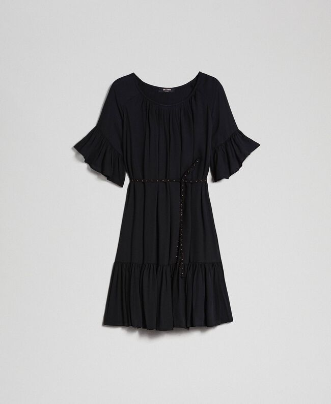 Kleid aus Crêpe de Chine mit Gürtel Schwarz Frau 192MP2163-0S