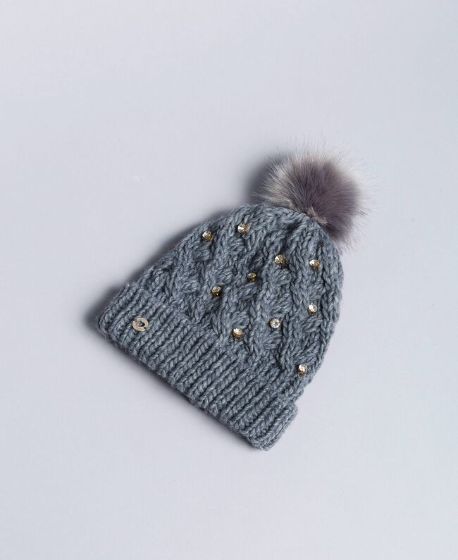 Knitted braided hat with rhinestones Light Gray Mélange Child GA8HCU-01