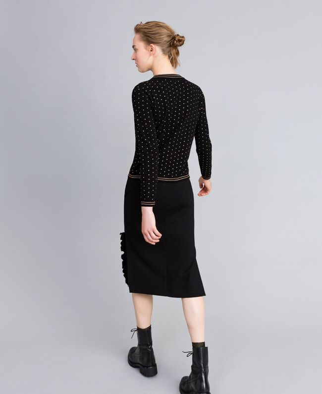 Gonna longuette in punto Milano con ruches Nero Donna PA821W-03