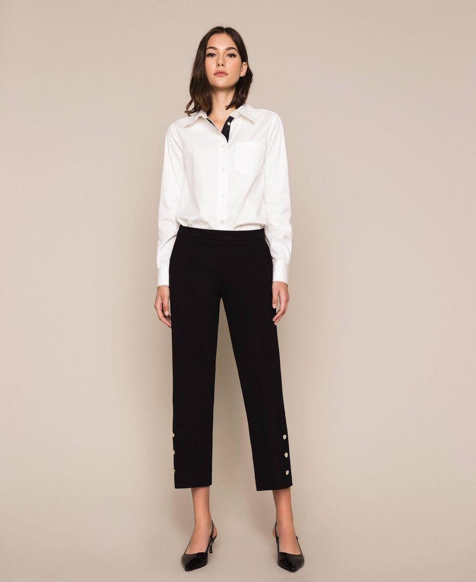 Pantalon avec volants et perles Ivoire Femme 201TP2103-01