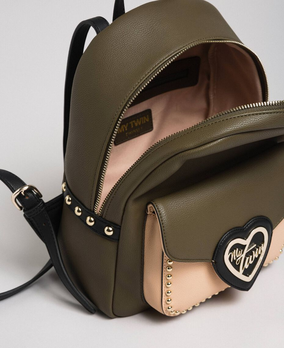Two-tone faux leather backpack with studs Black Woman 192MA7104-05