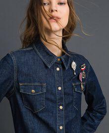Джинсовая рубашка с брошами в стиле милитари Синий Деним женщина 192MP2342-01
