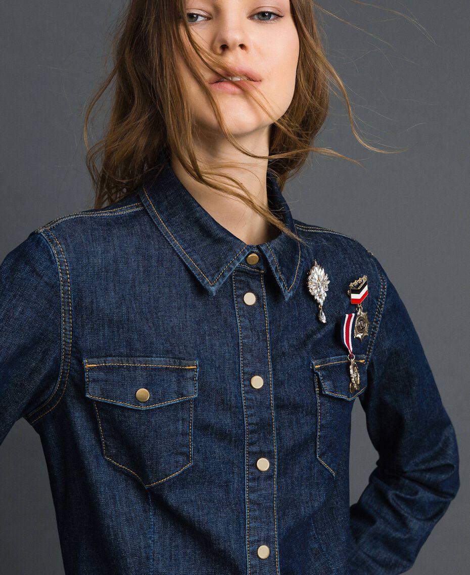 Chemise en jean avec broches style militaire Bleu Denim Femme 192MP2342-01