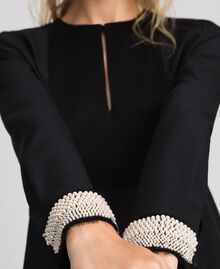 Blouse with pearl embroidery Black Woman 192TT2320-04