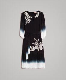 Kleid mit Blumenstickerei und Fransen Schwarz Frau 191TT2132-0S