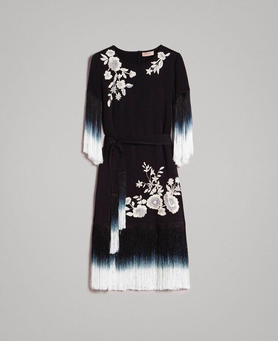Robe avec broderies florales et franges Noir Femme 191TT2132-0S
