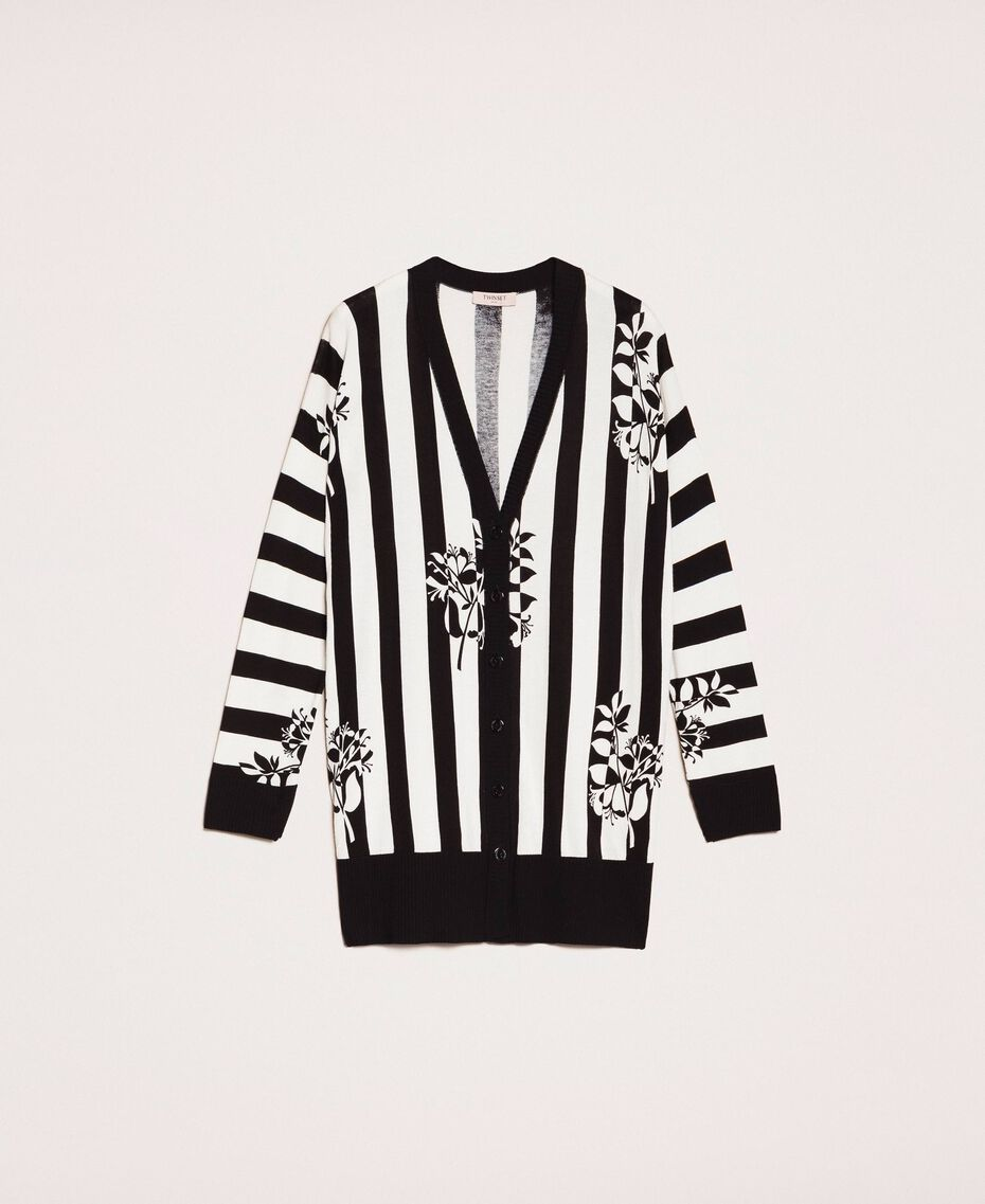 Maxi cardigan with print and slits Floral Print over Snow/ Black Stripes Woman 201TP3261-0S