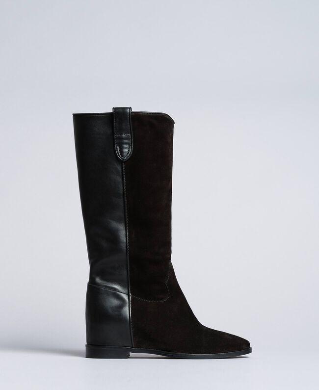 1f88fff451 Stivali in pelle e crosta con zeppa Donna, Nero | TWINSET Milano