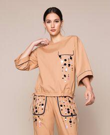 Blusa in popeline ricamo di paillettes Light Brown Donna 201ST2025-01