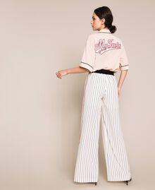 Pantalon en crêpe de Chine rayé Rayé Vanille / Noir Femme 201MP2101-04