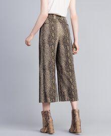 Animal print cropped trousers Camel Snake Jacquard Woman PA828P-03