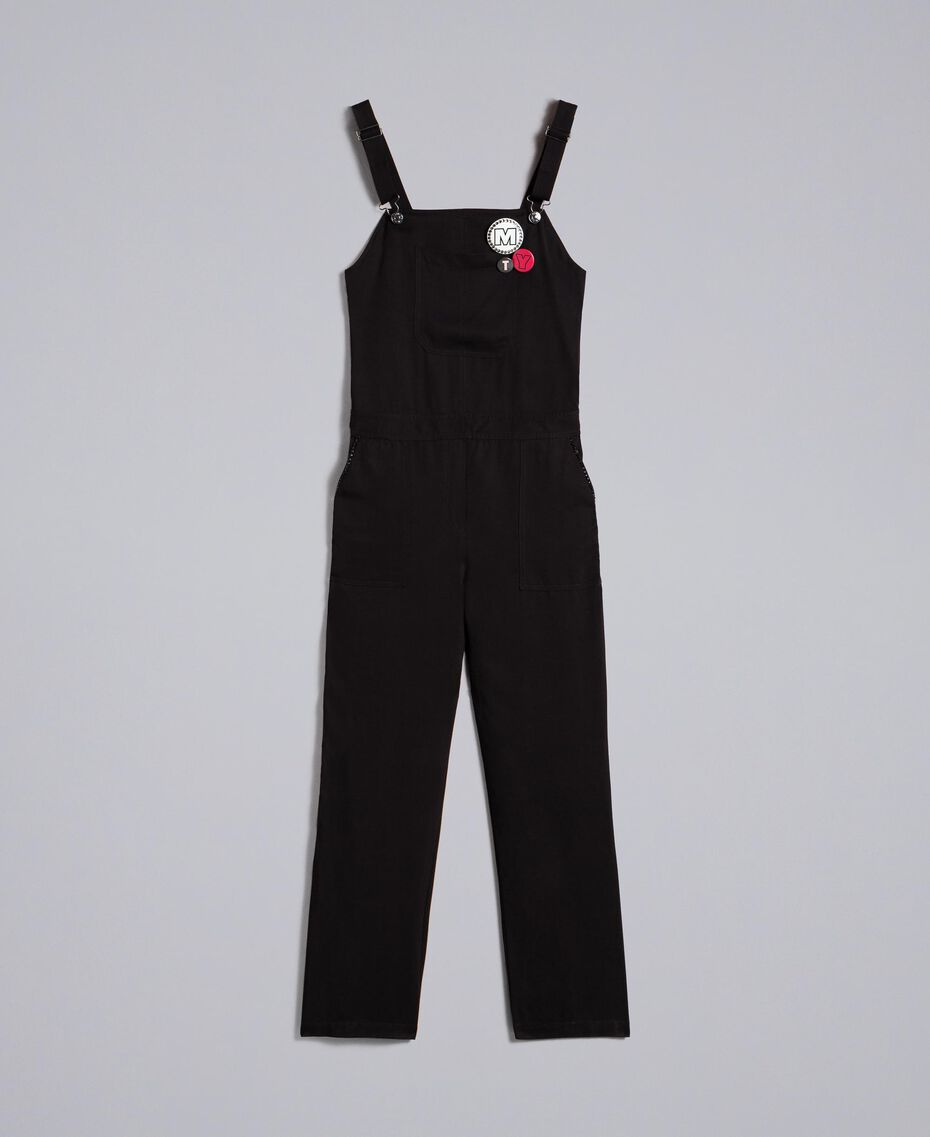Dungarees with front pocket and pins Black Woman JA82S1-0S