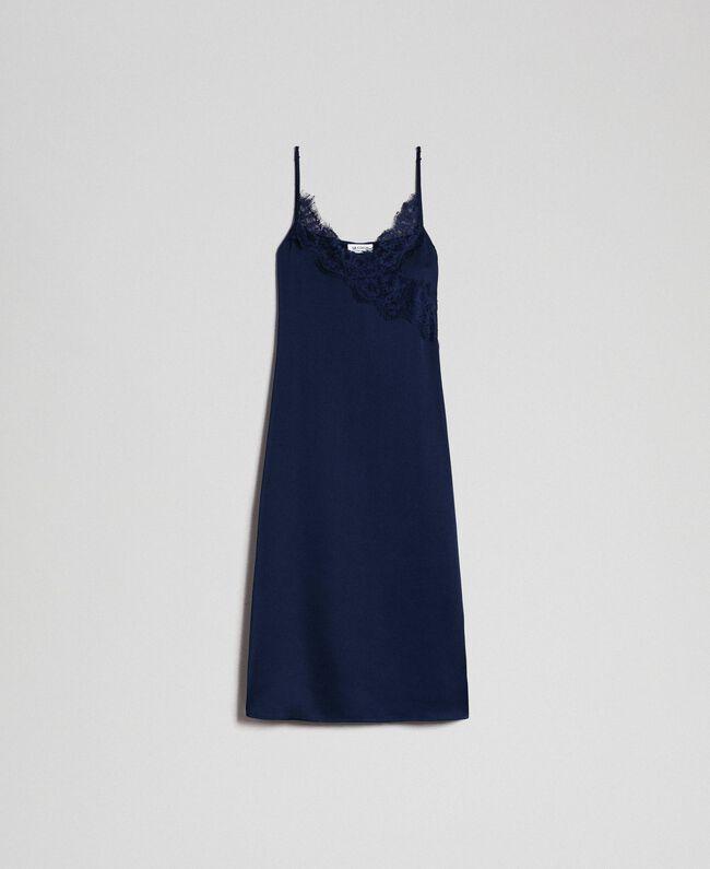 Robe nuisette avec dentelle festonnée Bleu Nuit Femme 192ST2092-0S
