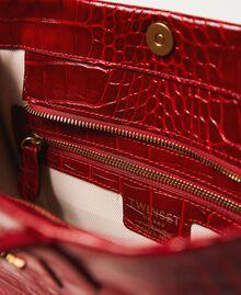Medium leather Twinset Bag shopper Black Crocodile Print Woman 202TB7113-05