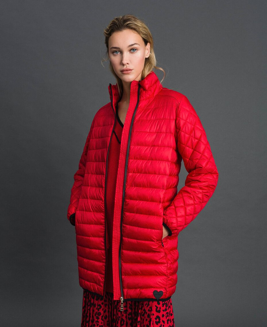 Long ultra light puffer jacket Poppy Red Woman 192MP2101-02