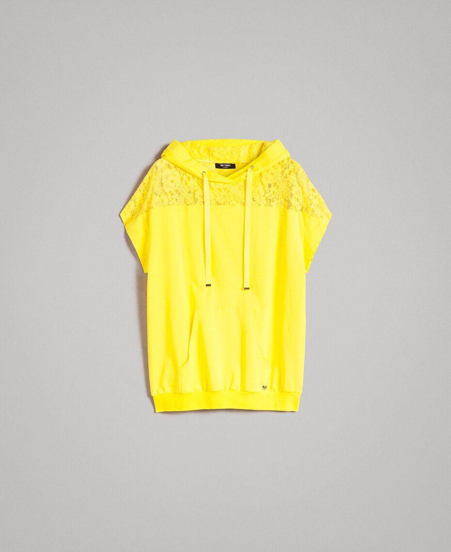 Maxi-Sweatshirt mit Kapuze und Spitze Neongelb Frau 191MT2340-0S