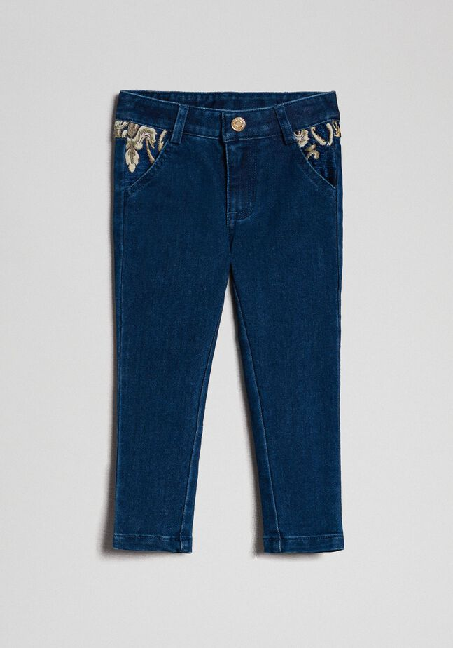 Skinny trousers with jacquard pockets