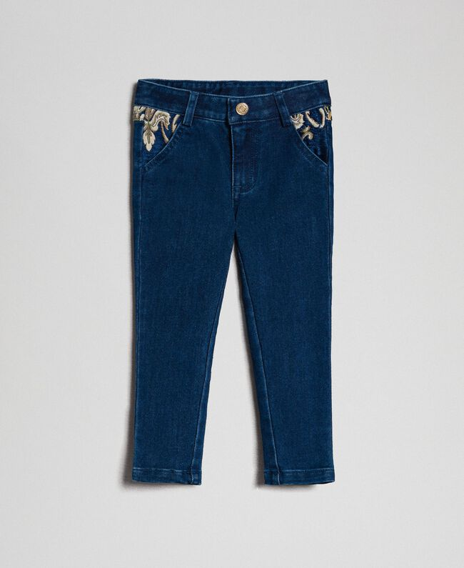 Skinny trousers with jacquard pockets Denim Effect / Brocade Child 192GB2630-01