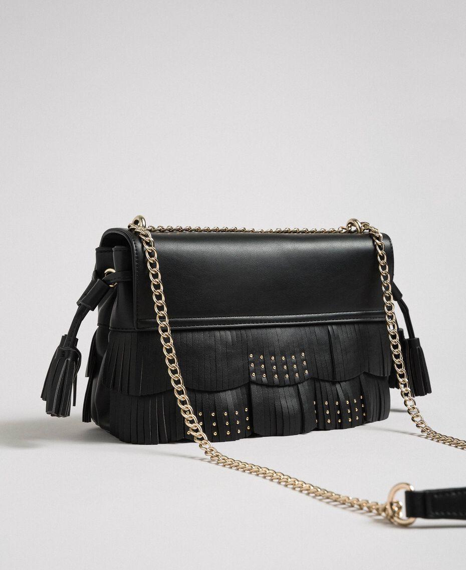 Borsa a tracolla in similpelle con frange e borchie Nero Donna 192MA7021-03