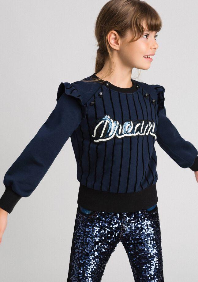 Sweatshirt mit Flockdruckstreifen und Knöpfen