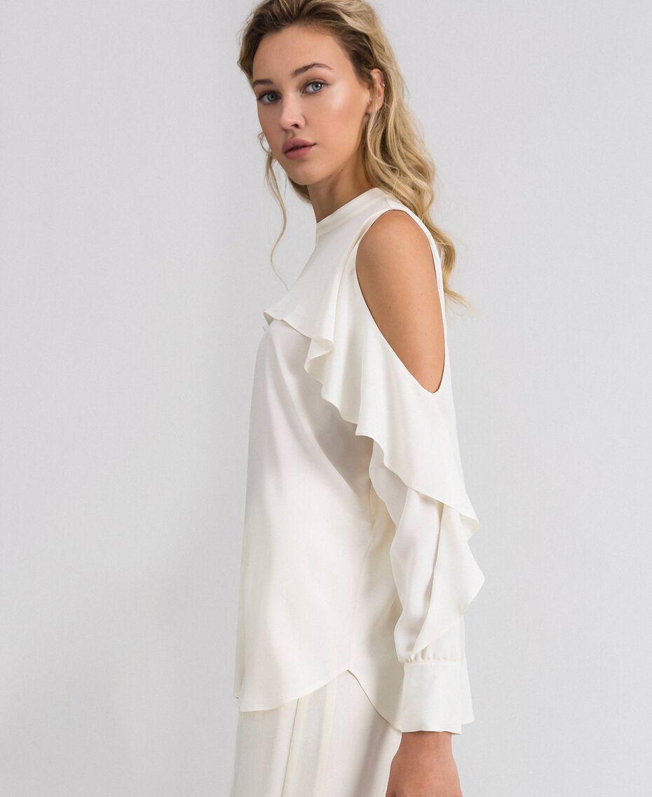 Camicia in crêpe de Chine con volant Bianco Neve Donna 192TT2432-02