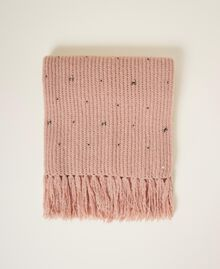 """Knit scarf with pearls and bezels """"Intense Nude"""" Pink Woman 202TO5111-01"""