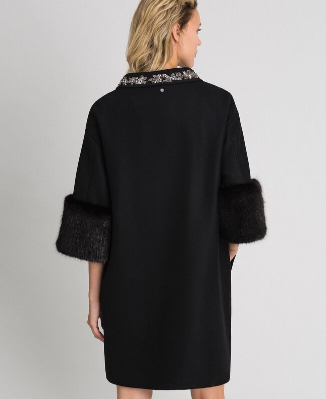 Embroidered coat with faux fur details Black Woman 192TT2162-03