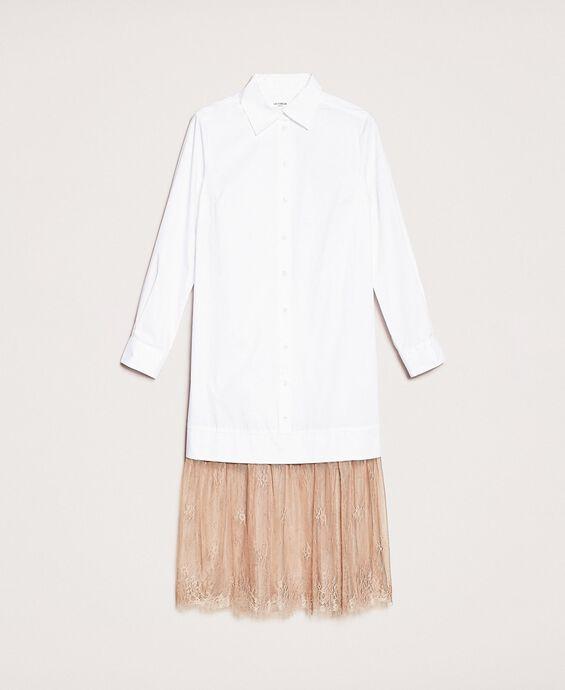 Hemdblusenkleid aus Popeline mit Spitze
