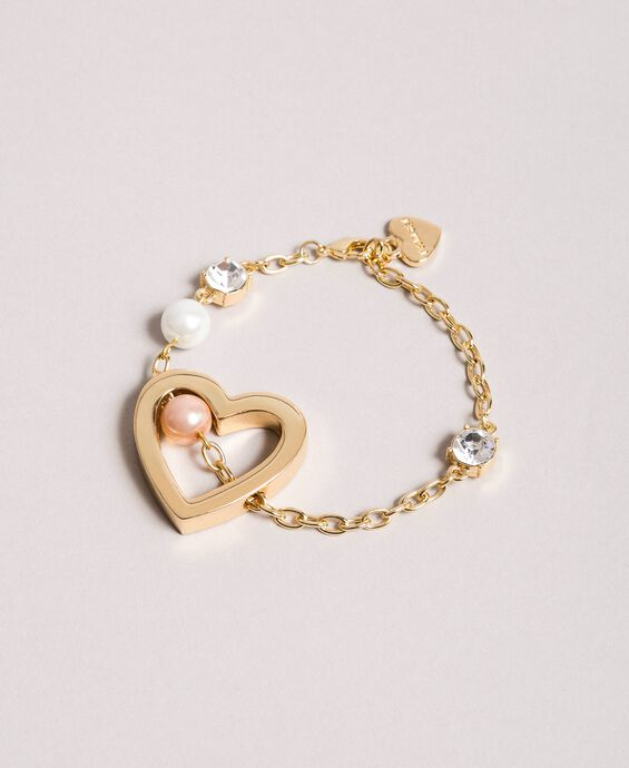Bracelet with heart pendant, pearls and stones