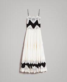 Robe longue en georgette agrémentée de dentelle Bicolore Blanc Neige/ Noir Femme 191TT2100-0S
