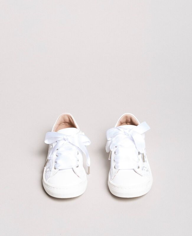 Sneakers with pearls and rhinestones Pale Cream Child 191GCB060-04