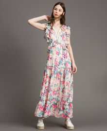 Robe en georgette à volants et froufrous Imprimé Fleur Tissu Blanc Femme 191MP2330-01