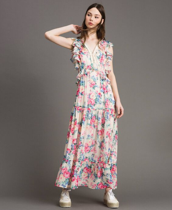 Georgette dress with flounces and frills